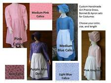 CUSTOM Girl Historical Pioneer prairie bonnet apron dress set pick size & color