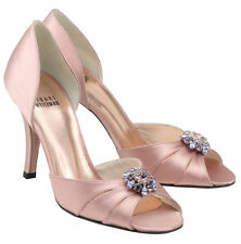 Stuart Weitzman 'Goodlife' Dusky Pink Satin & Diamante Peep Toe Court Shoes