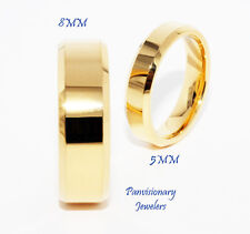 Tungsten Carbide Ring 5MM Gold IP Flat Beveled Wedding Band Comfort Fit