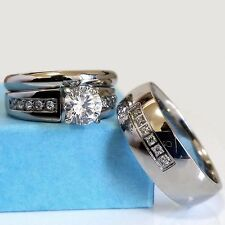 Wedding Ring Set His and Hers Match Bands Mens Womens Engagement Stainless Steel