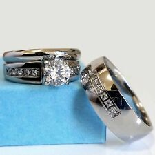 Wedding Ring Set His & Hers Stainless Steel Men Women CZ Engagement Match Bands