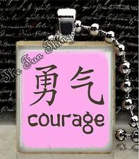 Chinese Character Courage Scrabble Tile Pendant Handcrafted Jewelry Charm