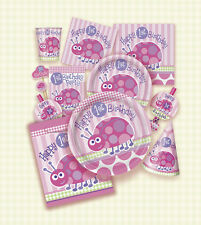 GIRLS FIRST BIRTHDAY ONE YEAR PINK LADYBUG PLATES CUPS NAPKINS 1ST PARTY