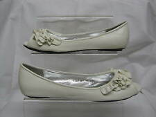 LADIES SPOT-ON FLAT PEEP-TOE SHOE SYNTHETIC WHITE UPPERS F0347