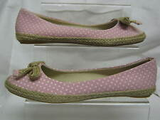 "LADIES SPOT ON "" F2200 "" PINK CANVAS FLAT SHOES"