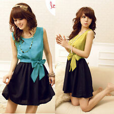New Women's Slim Sweet Bowknot Round Neck Preppy Mini Dress Korean Fashion
