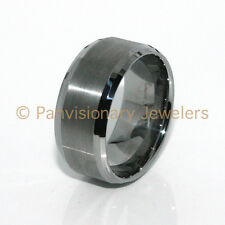 Tungsten Wedding Band Ring 12MM Natural Brushed Beveled Sizes 8-16 + half sizes