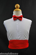 Cummerbund / Cumberband + Bow tie Set RED for Baby- Boys Tuxedo Suit Sz: S-28