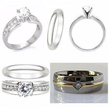3pcs TITANIUM and STAINLESS STEEL Womens Engagement WEDDING RING SET & MENS BAND