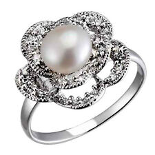 Sterling Silver Freshwater Pearl CZ Accents Floral Petals Bridal Wedding Ring