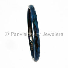Tungsten Carbide Ring 2MM Faceted Blue IP Wedding Band Stackable, Midi, Toe