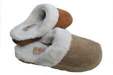 Ladies New Cosy Beige Brown White Fur Lined Slipper Mules Slip On Warm Size 3-8