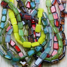 **Pick Your Color **  24pcs 12x8mm RECTANGLES /PICASSO CZECH GLASS BEADS