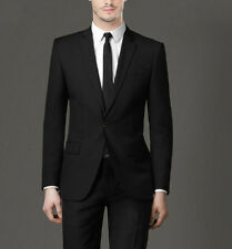 New Solid Black Men Man Suit Groom Bestman Side Vents One Button Slim Fit Suit