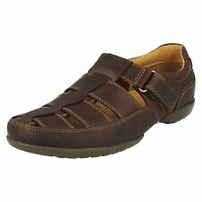 Clarks Recline Open Mahogany Brown Leather Casual Sandal Shoes