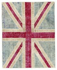 Union Jack British Flag design PATCHWORK RUG Handmade from OVERDYED old carpets