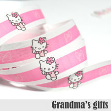 "1""25mm Kitty Princess Printed Grosgrain Ribbon 5/50/100 Yards Hairbow Wholesale"