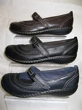 Ladies Clarks Flat Shoes with Strap Across Foot Leather Uppers EMBRACE CHAT