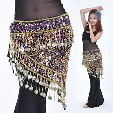 Belly Dance Costume Hand Crocheted Sequins&Golden Coins Hip Scarf Belt 3 colours