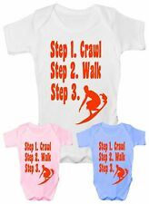 Steps To a Surfer Surfing Funny Babygrow Vest Gift  Baby Clothing