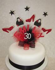 HANDBAGS & SHOE BIRTHDAY CAKE TOPPER  RED/BLACK ANY NAME 16th 18th 21st etc