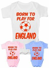 Born To Play For England Football Funny Babygrow Vest Gift  Baby Clothing