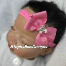 HOT PINK BUTTERFLY w/ BLING DAINTY HAIR BOW LACE HEADBAND EASTER Newborn Baby