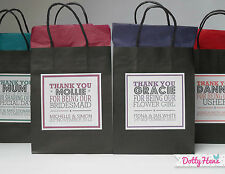 PERSONALISED PAPER WEDDING FAVOUR PARTY GIFT BAGS - BLACK WITH TISSUE