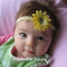 PRETTY YELLOW DAISY FLOWER w/BLING DAINTY HAIR BOW HEADBAND Spring Easter BABY