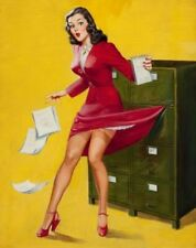 Vintage Pin-Up Girl Office Mishap Edward D'ancon PINUP197 Art A4 A3 A2 A1