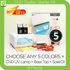 CND Shellac Nail Starter Kit- 8 Pieces+CND UV LAMP Manicure Set Gel FREE GIFTS
