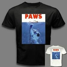 PAWS PARODY Funny Hilarious kitten felines cat attack movie black T-SHIRT C45