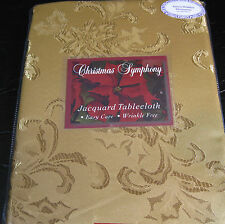 """CHRISTMAS SYMPHONY"" JACQUARD TABLECLOTH- GOLD- ASST. 52 x 70 100% POLYESTER"