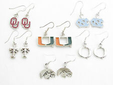 NCAA Collegiate Silver Earrings Officially Licensed Hypo Allergenic Choose Team