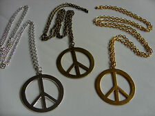 "A Stunning Large CND Peace Sign Charm Pendant ( 40mm), Long (30"") Chain Necklace"