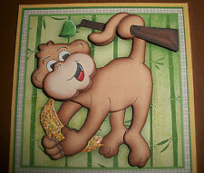 Handmade Greeting Card 3D Any Occasion With A Monkey