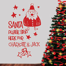 PERSONALISED NAMES CHRISTMAS STICKER - SANTA STOP HERE - Wall / Window Decal