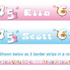 ANIMALS COUNT bedroom nursery baby WALL BORDER strips with name printed wall art