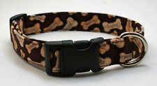 Handmade Custom Designer Dog Bones on Brown Dog Collar