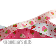 "1""25mm Strawberry Printed Grosgrain Ribbon 5/50/100 Yards Hairbow Wholesale"