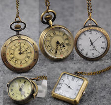 Retro Steampunk Vintage Bronze Quartz Pendant Chain Pocket Watch Dress Necklace