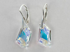 18mm DE-ART 925 STERLING SILVER GENUINE SWAROVSKI CRYSTAL EARRINGS - many colors