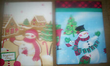 VINYL FLANNEL BACK TABLECLOTH 2 to choose Gingerbread Village or Believe Snowman