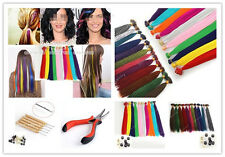 """16""""20""""Grizzly Solid Feather Synthetic Hair Extensions Micro Beads rings Hook Kit"""