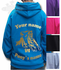 PERSONALISED HORSE RIDING HOODIE PONY ALL SIZE Equestrian GYMKHANA MOUNTED GAMES