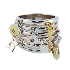 TWO TONE STACKED RHODIUM & 14K GOLD PLATED CHARM DANGLE BAND RING