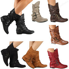 New Womens Boots High Fashion Slouch Flat Heel Boot Hot Stylish Shoes Size