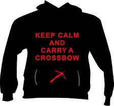 Keep Calm and Carry a Crossbow - Zombie, Walking Dead , Hoodie Fleece S - 5x!