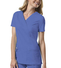 Ciel Blue Cherokee Workwear Mock Wrap Scrub Top 4728 CIEW