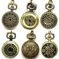26mm Vintage Steampunk Retro Bronze Pocket Watch Quartz Necklace Pendant W/Chain